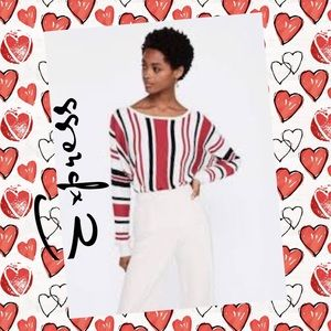 EXPRESS▪️Striped Black Red Dolman Pullover Sweater